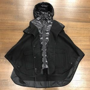 Moncler Grenoble Black Hooded Wool Puffer Cape